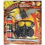 shoperama 6-Teiliges Feuerwehr Set für Kinder Ams Kostüm Feuerwehrmann Kleinkind Jungen Sam