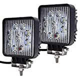 Faros de Trabajo Led,JieHe 2PCS 27W Luces Trabajo Led Flood LED Light Bar Montaje de luces de antiniebla IP67 Impermeable para Off-Road, Camión,Coche, ATV, SUV, Barco