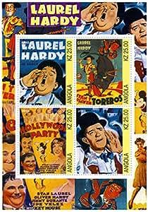 Laurel et Hardy timbres - images classiques de Laurel et Hardy - 4 timbres. Monnaie et neuf timbre feuillet