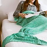 A mano punto cola de la sirena Manta, suaves calientes flexible estirable Sala / Room Manta Ocio Saco de dormir o para adultos 190cmX80cm (verde)