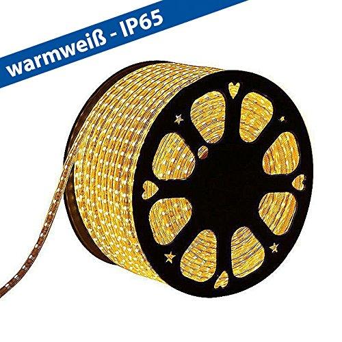 CLE LED Stripe Schlauch 1m Meterware 230V 5050 LEDs warmweiß 3000K wasserdicht superhell