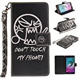Ooboom® Samsung Galaxy A3 2016 Coque PU Cuir Flip Housse Étui Cover Case Wallet Portefeuille Supporter Stand Porte-cartes Dragonne pour Samsung Galaxy A3 2016 - Don't Touch My Phone