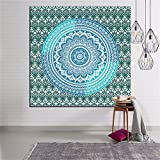 Mandala Green Wall Hanging Tapestry, Decor Tapestries, Print Painting Tapestry, Handmade Badsheet Blanket, Bedding Bedspread, Picnic Beach Sheet, Table Cloth, Decorative Wall Hanging, 79x59 Inch, By Eleoption