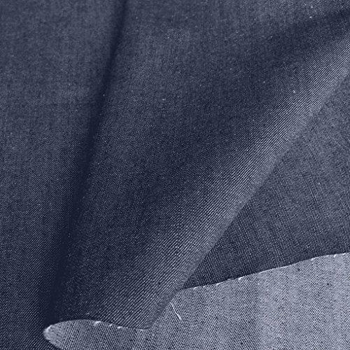 TOLKO Jeans-Stoff Meterware - Robuste Sommer Baumwolle - farbecht - für Hosen, Jacken, Röcke, Kleider (Denim-Blau)