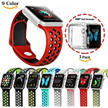 Chok Idea - Correa para Apple Watch (con carcasa transparente de TPU 1/2,38mm/42mm, estilo Nike+), 9 colores, color Red-Black