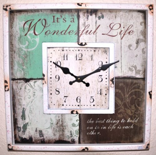 KUHEIGA Wanduhr, 40 x 40 cm, Wonderful Life'