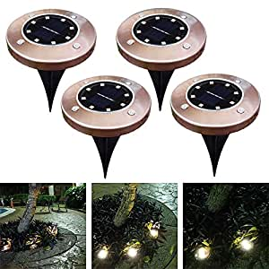 4pcs 8LED Solar Powered Lawn Pin Lamp Garden Yard Buried Under Ground Light