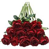 Tifuly 12 PCS Rosas Artificiales, Realista Largo Tallo Falso Rosa Seda Nupcial Ramo de Novia Flor para Home Garden Party Hote