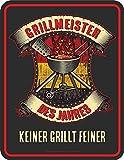 Grillen - Grillmeister des Jahres - Spruch Blechschild mit 4 Saugnäpfen - Größe 17x22 cm