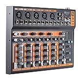 ammoon Audio Mixer Mixing Console Interfaccia 48V Phantom Power Portable 7-Channel Mic Linea EQ a 3 Bande USB con Adattatore di Alimentazione