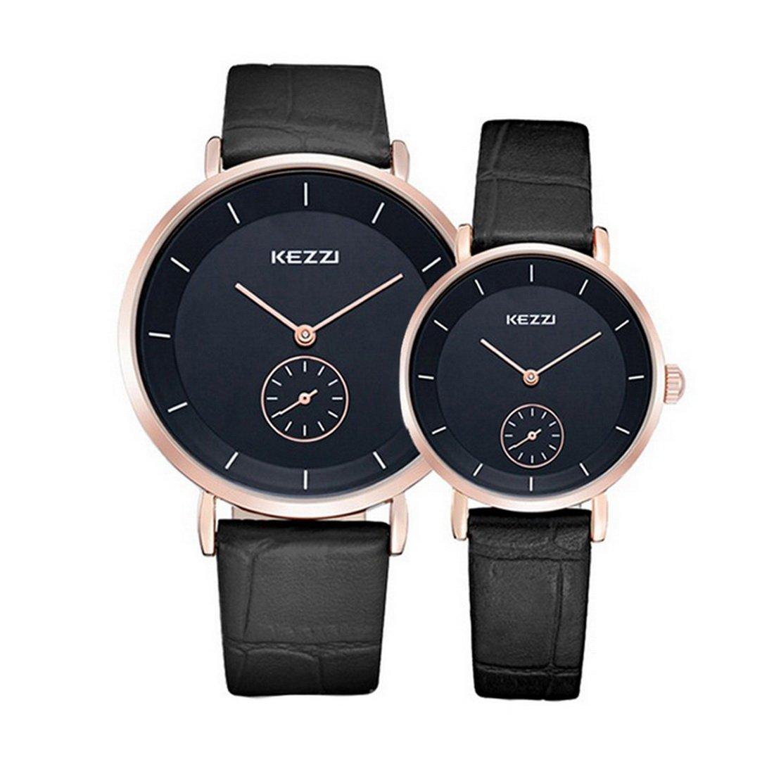 Souarts Armbanduhr 1 Paar / 2PC Leder Romantic Mode Paar Armbanduhren Schwarz