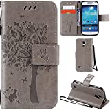 Ooboom® Samsung Galaxy S4 Mini Case Cat Tree Pattern PU Leather Flip Cover Wallet Stand with Card/Cash Slots Packet Wrist Strap Magnetic Clasp for Samsung Galaxy S4 Mini - Gray