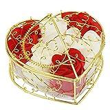 rancco® parfümiert rosa Bud Petal Seife parfümiert Blume mit Geschenkbox, Romantische parfümiert bewahrt Blume Frische Körper Soap Rabe Rosa für Valentine Geburtstag Hochzeit Dekor, Rouge/ blanc, 11*11*7 CM