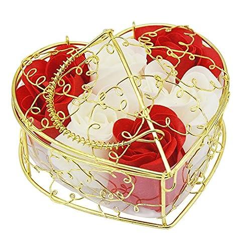 Rancco® Duft-Rosen-Knospe-Blütenblatt Parfümierte Seifen-Blume mit Geschenk-Kasten, romantische duftende konservierte frische Blumen-Bad-Körper-Seifen-Rose für Valentinsgruß-Geburtstags-Hochzeits-Dekor (Rose, (Elegante Rosen-seife)