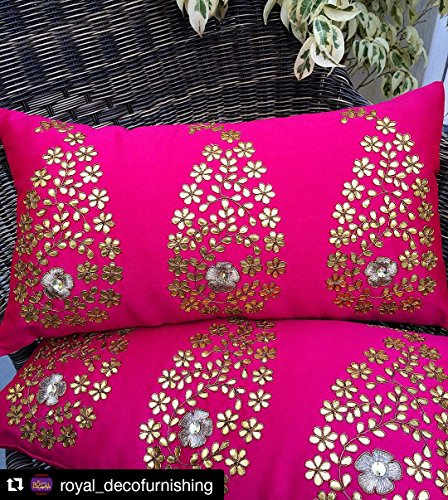 GET BOLD WITH RETRO & CLASS!! 3 Golden Paisley Leaf (Gotta Patti) Hand Embroidered Magenta Long Cushion Cover - (12