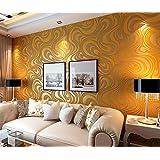 Qihang Papel pintado, diseño abstracto, estilo sinuoso moderno y lujoso, efecto 3D, 0,7 x 8,4 m (5,88 ㎡), amarillo y dorado
