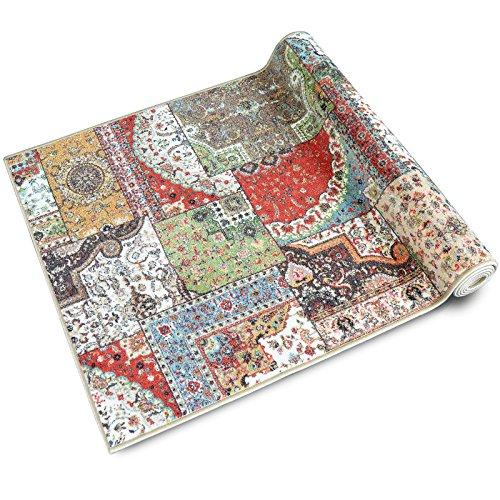 Teppichläufer Tesoro | Patchwork Muster im Vintage Look | viele Größen | moderner Teppich Läufer für Flur, Küche, Schlafzimmer | Niederflor Flurläufer, Küchenläufer | Breite 80 cm x Länge 100 cm