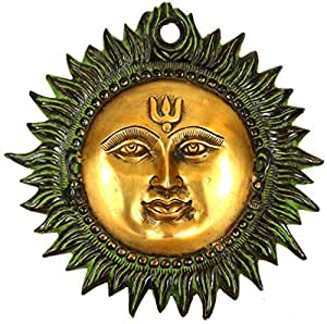 Exotic India Surya the Sun God (Wall Hanging) - Brass Statue