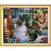 Anself Fai da te cucito a mano contato punto croce Set Kit 14CT Lakeside case modello ricamo ricamo decorazione domestica 41 * 50 cm
