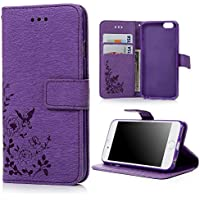 iPhone 6S Case ,iPhone 6 Case Cover 4.7 Inch - Lanveni Butterfly Flowers Embossed Retro Premium PU Leather Magnetic Flip Wallet Cover with Detachable Hand Strap & Card Slots & Stand Function for iPhone 6S & iPhone 6 4.7'' , Purple