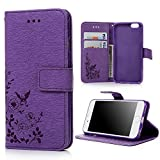 iPhone 6S & iPhone 6 Case Cover 4.7 Inch - Lanveni Butterfly Flowers Embossed Retro Premium PU Leather Magnetic Flip Wallet Cover with Detachable Hand Strap & Card Slots & Stand Function for iPhone 6S & iPhone 6 4.7'' , Purple