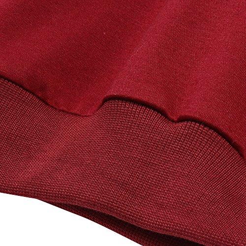 ... Coofandy Herren Langarmshirt Sweatshirt Freizeit Sport Pullover Loose  Fit Knotrastfarben mit 2-Tone Raglan Rot ... 446d137c7b
