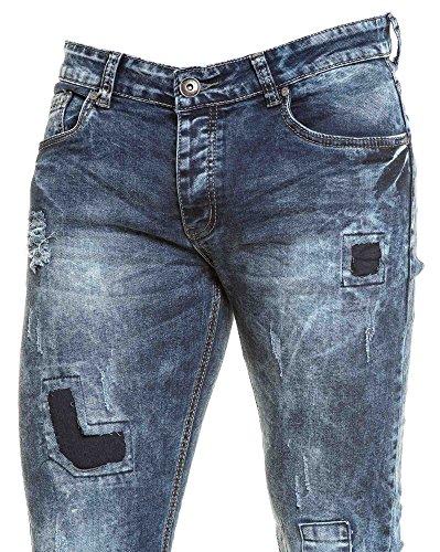 BLZ jeans - Jean dunkler Waschung schlank zerrissen und Einsätze Blau