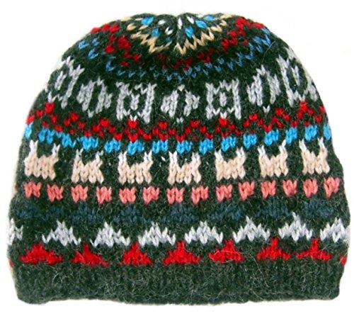 Alpacaandmore Damen Beanie Muetze peruanische Alpakawolle Handgestrickt Verschiedene Farben Einheitsgroesse (Peruanische Mütze)