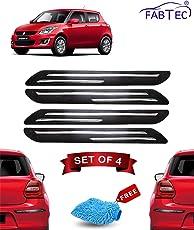 Fabtec Rubber Car Bumper Protector Guard with Chrome Strip for Maruti Swift (Set of 4) Black (Design-Double Chrome)
