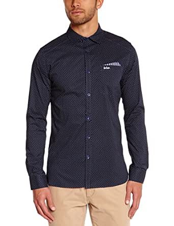 Lee cooper - oswald dot 3056 - chemise casual - coupe cintrée - homme - Bleu (Night Blue Dot) - FR : X-Large