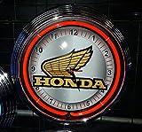 NEONUHR NEON CLOCK HONDA MOTORRAD SIGN GARAGE WANDUHR BELEUCHTET MIT ROTEN NEON RING