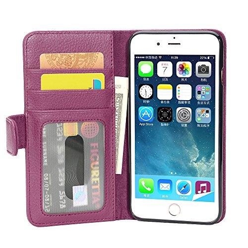 Cadorabo Hülle für Apple iPhone 8 Plus/iPhone 7 Plus/iPhone 7S Plus - Hülle in Bordeaux LILA – Handyhülle mit 3 Kartenfächern - Case Cover Schutzhülle Etui Tasche Book Klapp Style