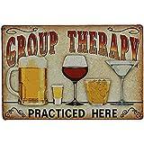 LUOEM Metalen teken retro tin teken metalen poster wandbord voor Cafe Bar Pub Group Therapy Practiced Here
