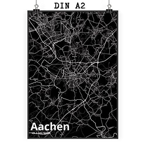 Mr. & Mrs. Panda Poster DIN A2 Stadt Aachen Stadt Black - Stadt Dorf Karte Landkarte Map Stadtplan Poster, Wandposter, Bild, Wanddeko, Wand, Motiv, Spruch, Kinderzimmer, Einrichtung, Wohnzimmer, Deko, DIN, A2, Fan, Fanartikel, Souvenir, Andenken, Fanclub, Stadt, Mitbringsel