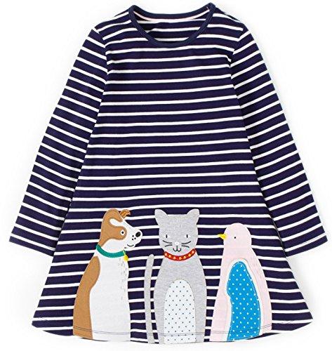 Kaily Mädchen Baumwolle Langarm T-Shirt Kleid (2T/2-3Jahre, Navy)