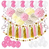61 Stück Partei Dekorationen, Cocodeko Pompoms Blumen, Spiral Girlanden, Quasten Girlande, Polka Dot Papier Girlande und Luftballon für Geburtstag Parteien Hauptdekorationen - Rosa, Pink und Cream