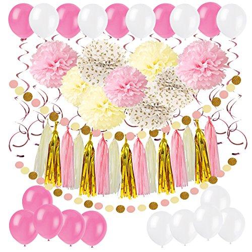 61 Stück Partei Dekorationen, Cocodeko Pompoms Blumen, Spiral Girlanden, Quasten Girlande, Polka Dot Papier Girlande und Luftballon für Geburtstag Parteien Hauptdekorationen - Rosa, Pink und Cream (Polka Dot Ballons Pink)