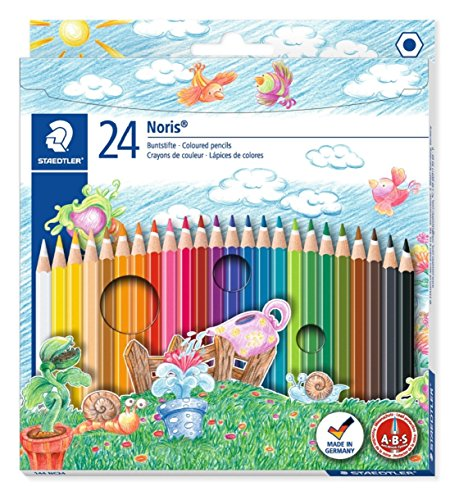 144 NC24 Buntstifte, erhöhte Bruchfestigkeit, sechskant, Set mit 24 brillanten Farben, kindgerecht nach DIN EN71, umweltfreundliches PEFC-Holz (Spaß-office-spiele)