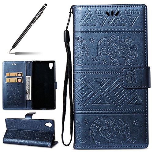 Handyhülle für Sony Xperia XA1 Plus, Niedlich Elefant Muster Druck Handy Schutzhülle Brieftasche Handytasche Lederhülle für Sony Xperia XA1 Plus Hülle Ledertasche mit Standfunktion Karteneinschub Bum