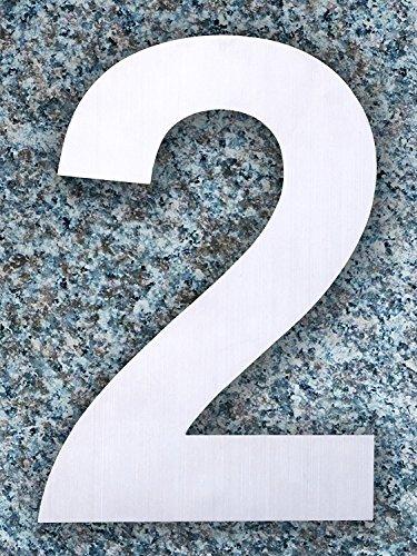 QT Moderne Hausnummer -Größe: 15 Zentimeter (Nummer 2 / Zwei) Gebürsteter Edelstahl - 2