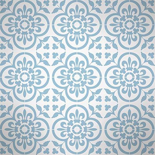 Basque Boden Fliesen Schablone, Farbe Fliesen Muster auf Böden, Wände, Möbel, Wiederverwendbar Wohndeko & Basteln Schablone - M/ 20X20CM -