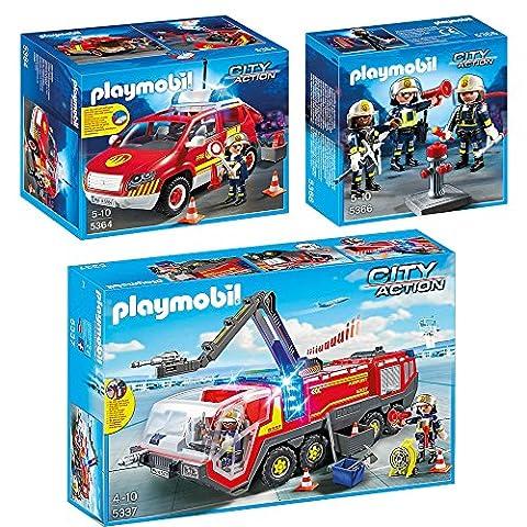 PLAYMOBIL® City Action set en 3 parties 5337 5364 5366 camion de pompiers à l'aéroport + Véhicule D'intervention Avec Sirène + Unité De Pompiers