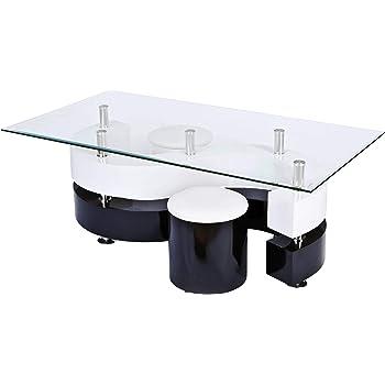 H24living Couchtisch Hochglanz Sofatisch Glastisch Tisch