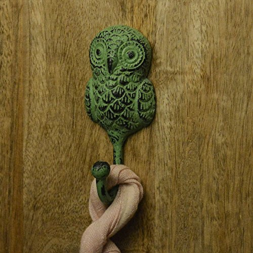 Casa Decor New Year Sale Of Standing Owl Shape Single Wall Figurine, Rustic, Decorative Gift , Distressed Rustic Metal Hook Green