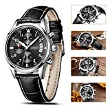 SONGDU Mens Chronograph Multi-Function Quartz Watch wristwatch With Black Leather Strap and Black Dial DM-9202-P01EYA——Ideal and Celebrative Gift for Christmas and New Year Sales