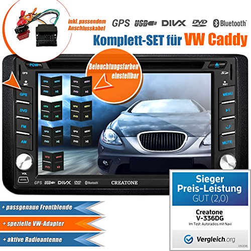 2DIN Autoradio CREATONE V-336DG für VW Caddy (2003-2015) mit GPS Navigation (Europa), Bluetooth, Touchscreen, DVD-Player und USB/SD-Funktion