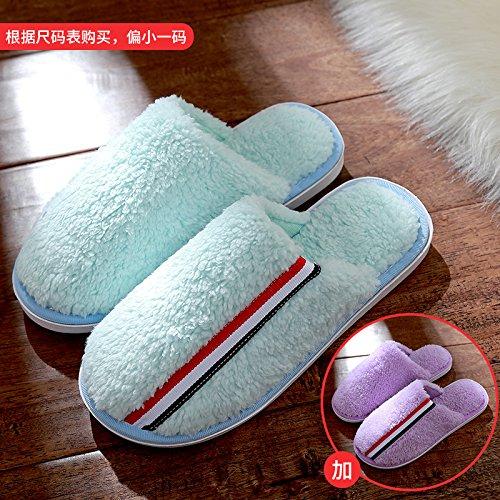 DogHaccd pantofole,Pantofole di cotone femmina inverno spessa coperta coppie maschio soggiorno anti-slittamento peluche caldo pantofole Il blu e viola2