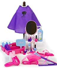 18 Inch Doll Pretend Play Hair Salon 30 Pc. Set, Combo Child Sized & Doll Sized Complete Hair Access