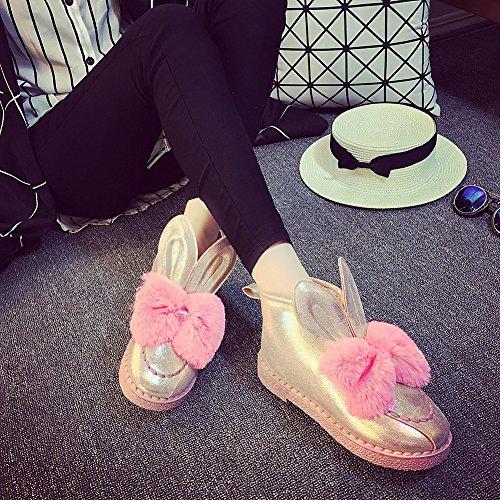 Fortuning's JDS Oreille de Fille pour Femme fausse fourrure Pompon chaussures plates Tobe Bottes de neige Rose