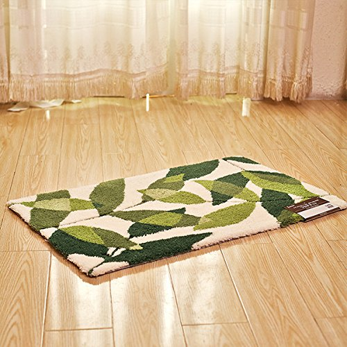 hdwn-thickening-acrylic-latex-back-carpet-mat-leaves-door-mat-5585-80120-green-and-white-80120